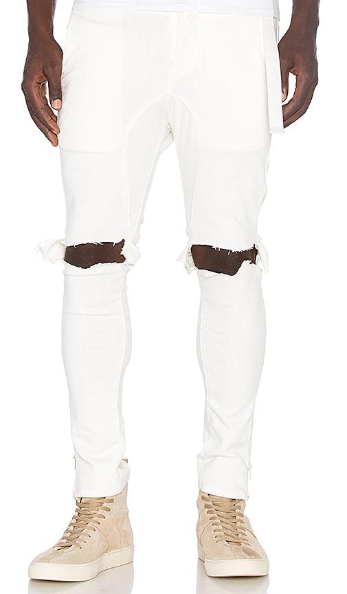 Daniel Patrick x T-Raww Ripped Skinny Jeans in White