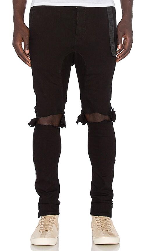 Daniel Patrick x T-Raww Ripped Skinny Jeans in Black