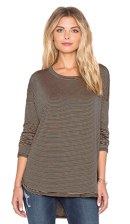 Knot Sisters KS Long Sleeve Tee in Pale Rose & Black Stripe