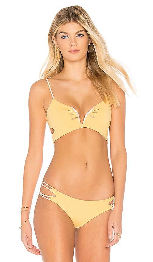 KOA Sunrise Reversible Bikini Top in Yellow