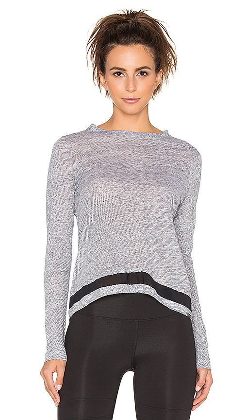 koral activewear Ridge Long Sleeve Top in White & Black