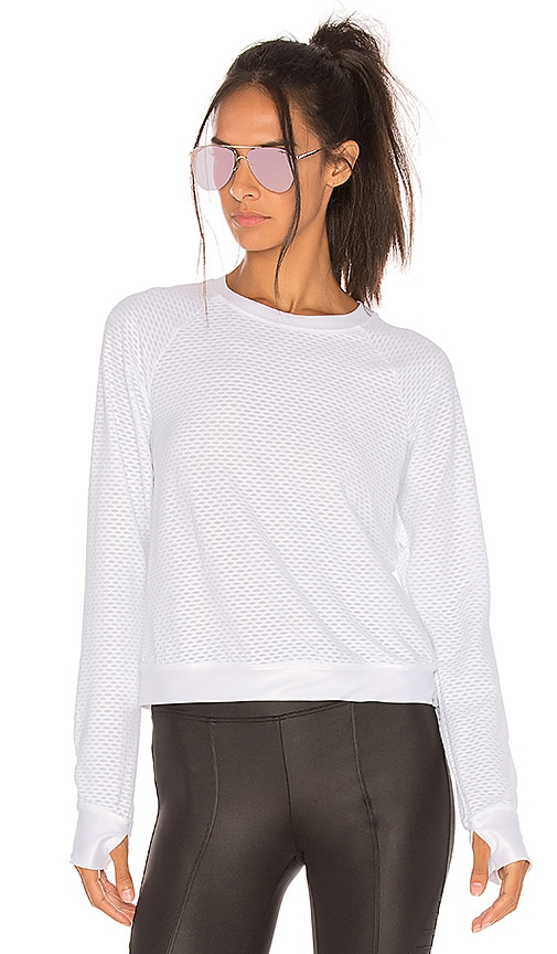 KORAL Sofia Crewneck Long-Sleeve Pullover Top in Ivory