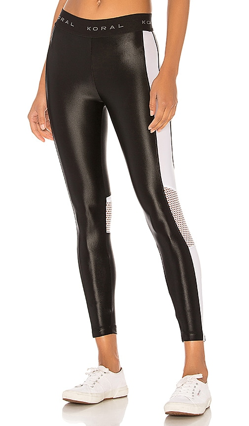 KORAL Emblem Cropped Legging in Black & White