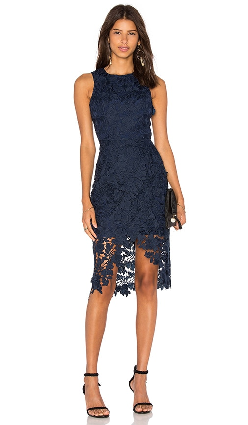 keepsake Say My Name Lace Dress in Navy