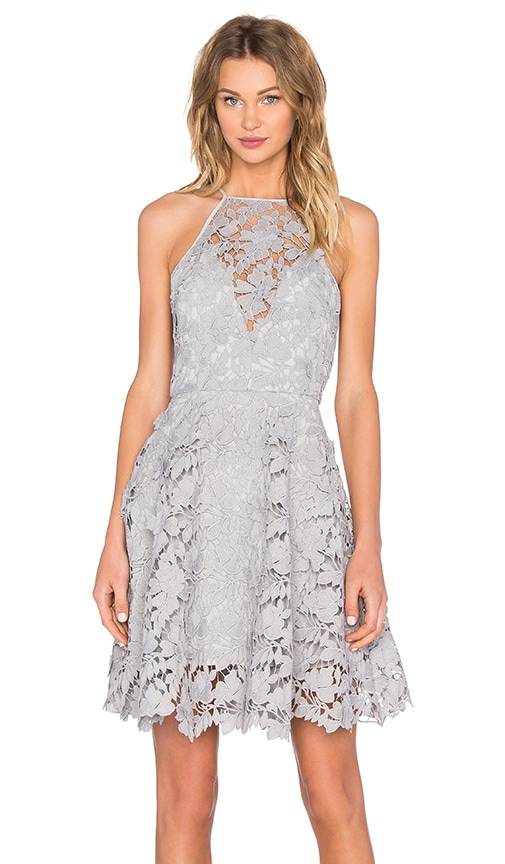 keepsake Acoustic Lace Dress in Light Gray