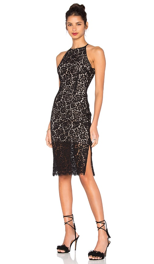 keepsake Let It Happen Lace Dress in Black