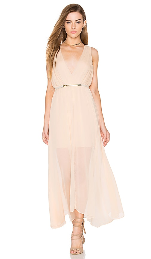 keepsake All Rise Maxi Dress in Beige