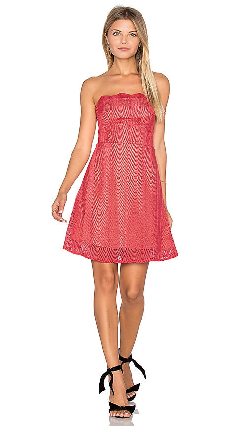 keepsake Think Twice Lace Mini Dress in Red Ochre