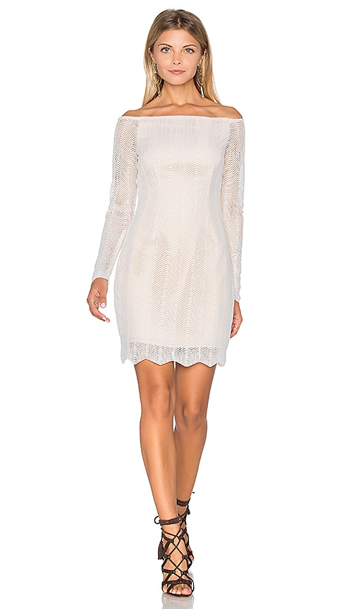 keepsake Think Twice Long Sleeve Lace Dress in White