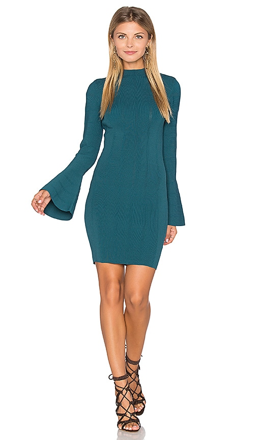 keepsake Lighthouse Knit Long Sleeve Dress in Green