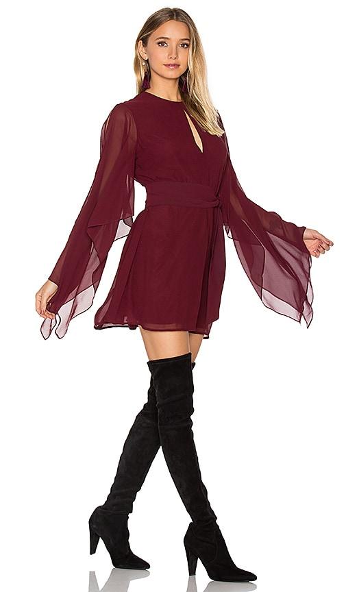 keepsake Step Back Dress in Burgundy
