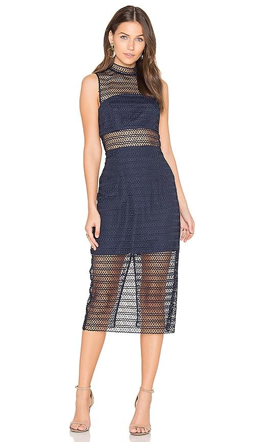 keepsake All Night Lace Midi Dress in Navy