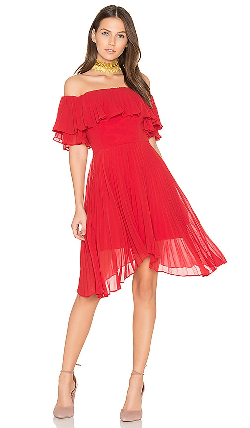 keepsake Seasons Pleated Dress in Red