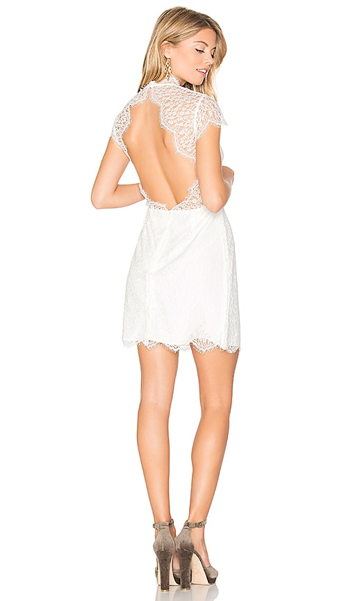 keepsake Daydream Lace Mini Dress in White