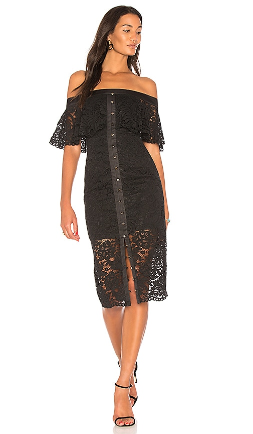 keepsake Star Crossed Lace Midi Dress in Black