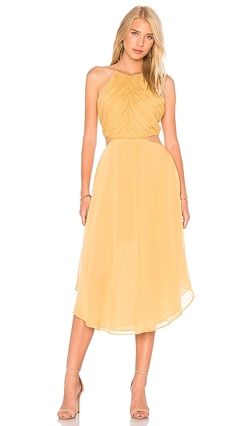 keepsake Elevate Midi Dress in Mustard