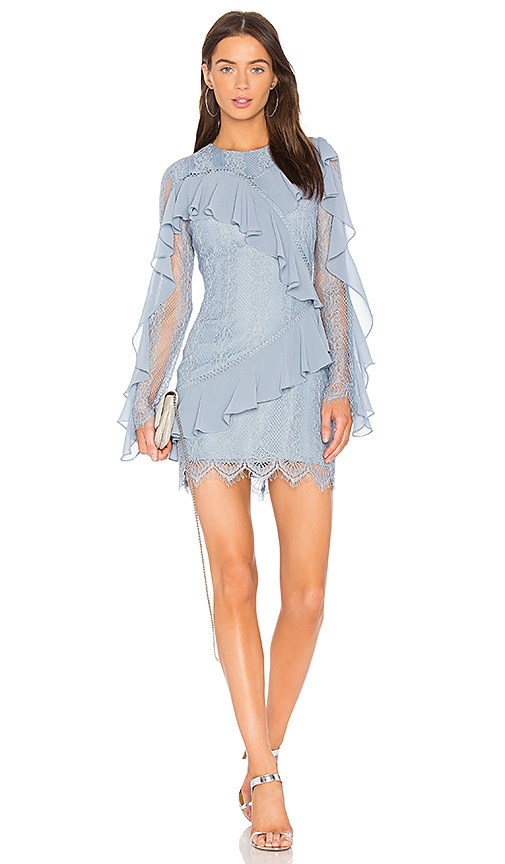 keepsake Better Days Lace Ruffle Dress in Blue
