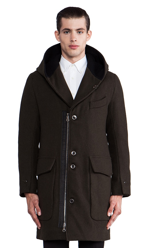 Beaumer Hooded Shawl Collar Overcoat