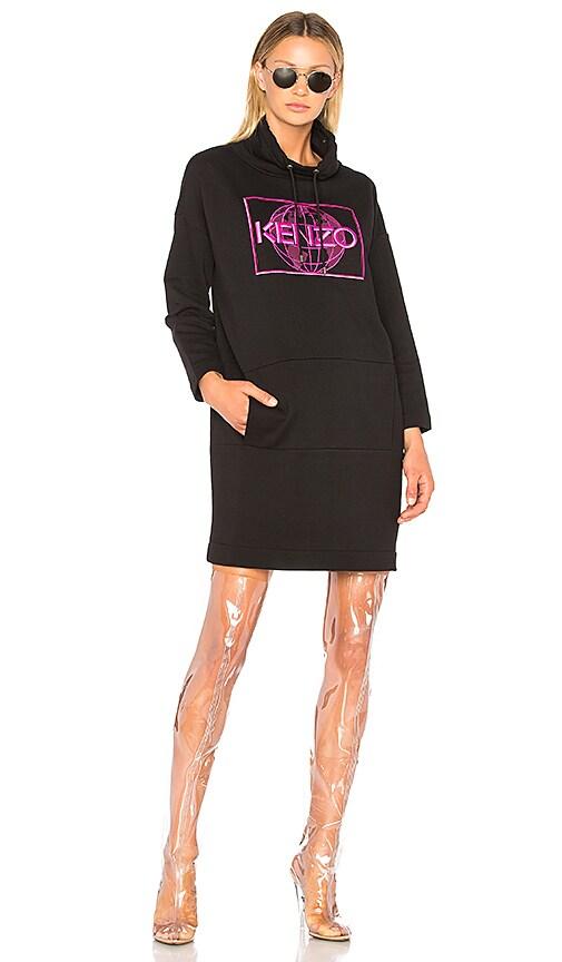 Kenzo Artwork Sweat Dress in Black