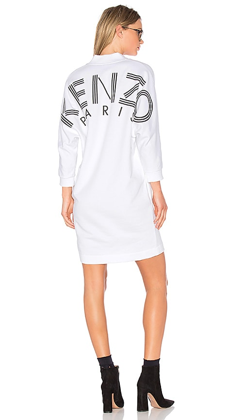 Kenzo Light Brushed Molleton Mini Dress in White