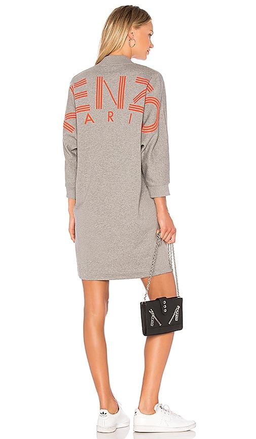 Kenzo V Neck Sweatshirt Dress in Gray