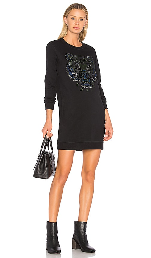 Kenzo Tiger Classic Sweatshirt Dress in Black