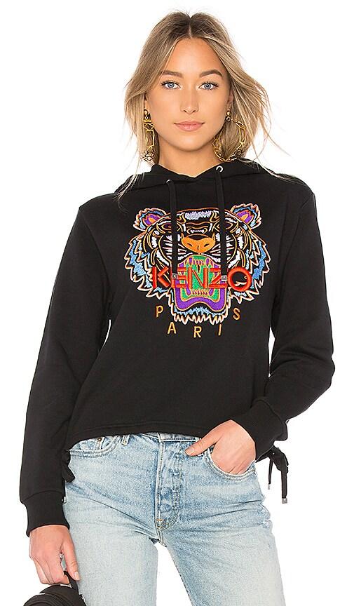 Kenzo Tiger Drawstring Hoodie in Black