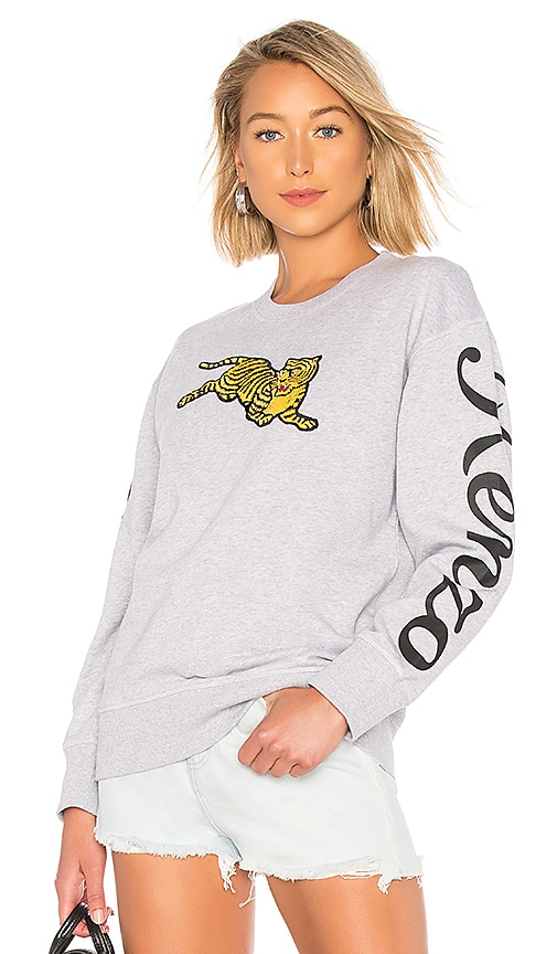 a8d94d04 Kenzo Jumping Tiger Relax Sweatshirt in Pearl Grey | REVOLVE