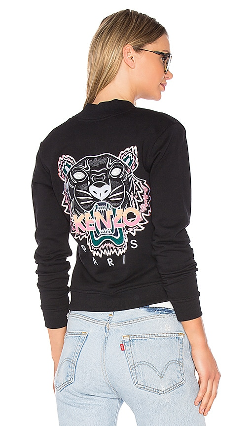 Kenzo Embroidered Tiger Bomber Jacket in Black