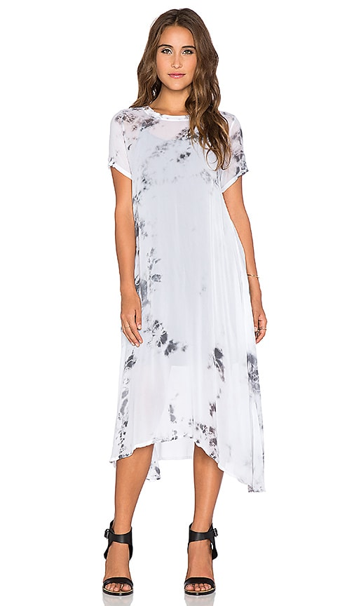 LACAUSA Factory Dress with slip in Watercolor Shadow