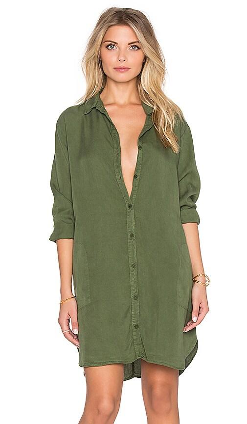 LACAUSA Tencel Mini Shirtdress in Green
