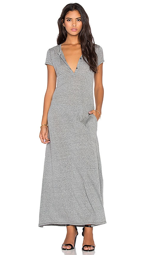 LACAUSA Heather Henley Dress in Gravel