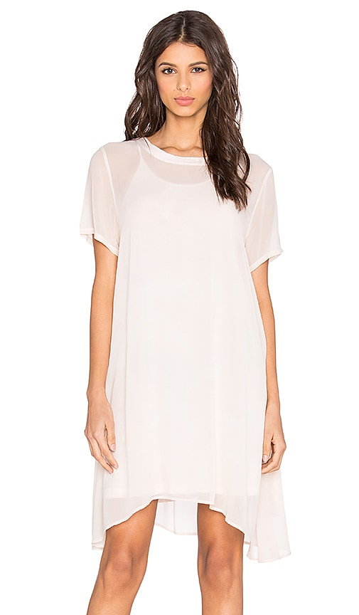 LACAUSA Factory Mini Dress with Racer Slip in Angel Wash Ballet