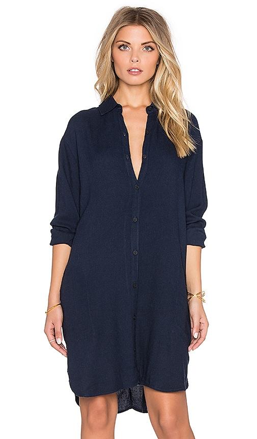 LACAUSA Wool Mini Shirtdress in Velvet