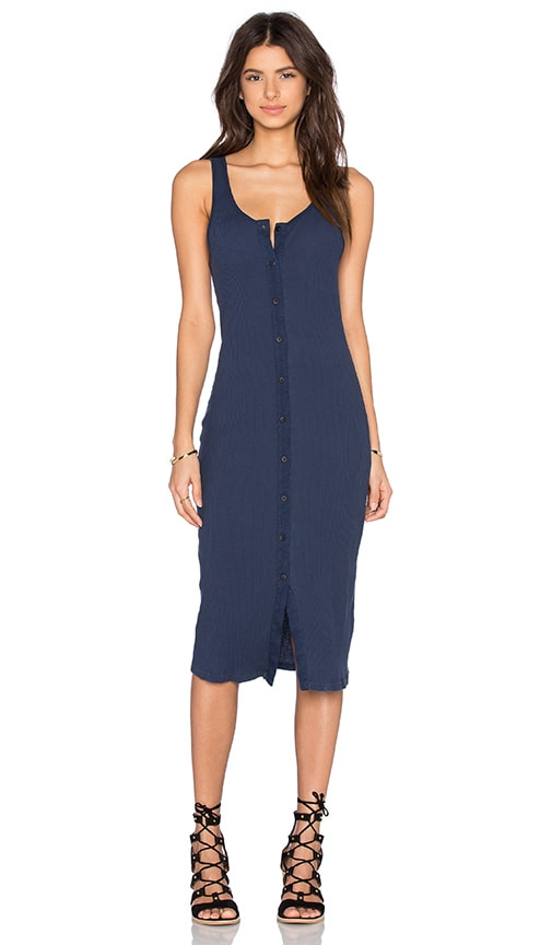 LACAUSA Button Rib Dress in Navy