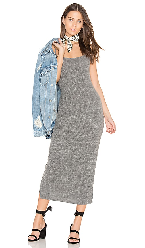 LACAUSA Ribbed Midi Dress in Charcoal