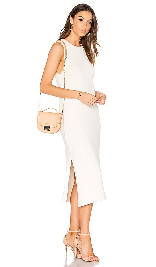 LACAUSA Opal Hand Knit Dress in White
