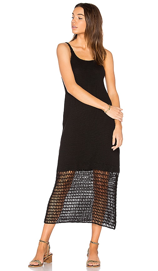 LACAUSA Crochet Slip Dress in Black