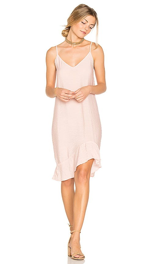 LACAUSA Ruffle Slip Dress in Pink