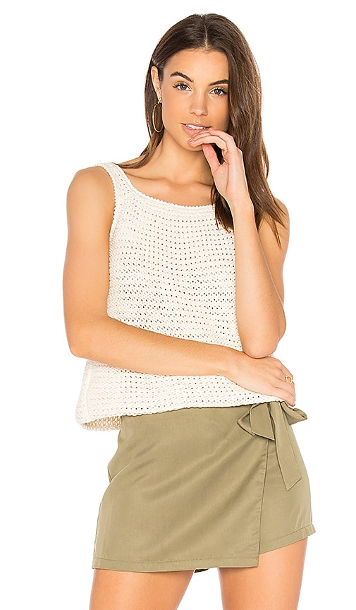 LACAUSA Mia Hand Knit Tank in White