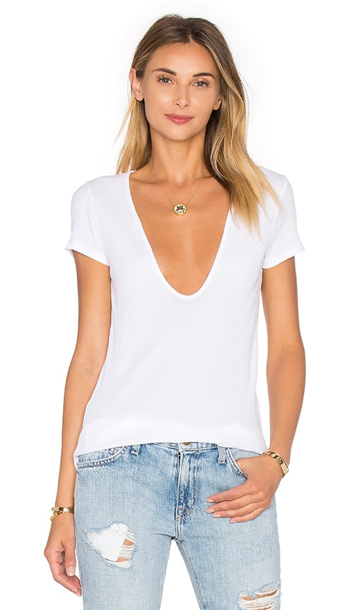 LACAUSA Rib Scoop Tee in White