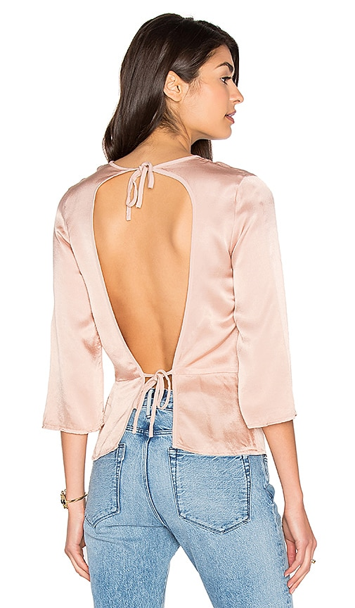 LACAUSA Tie Back Top in Rose
