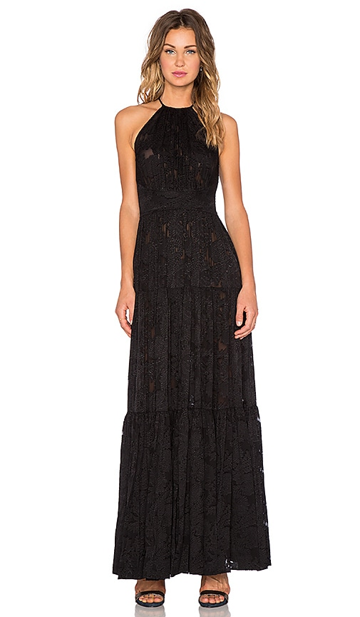 L'AGENCE Penelope Tiered Maxi Dress in Black