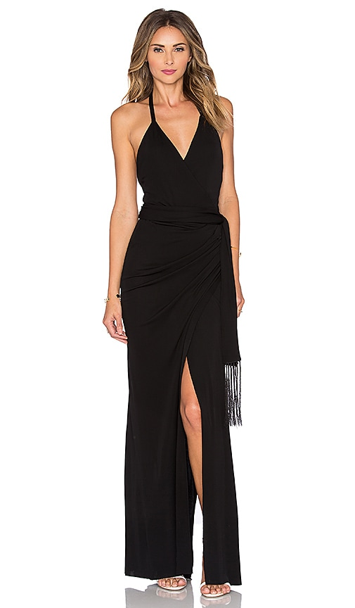 L'AGENCE Sabrina Wrap Dress in Black