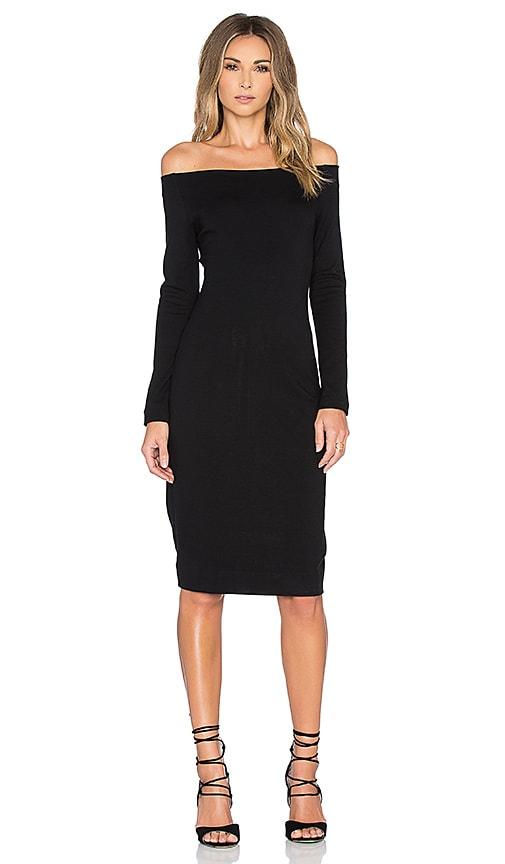 L'AGENCE Daphne Off Shoulder Dress in Black