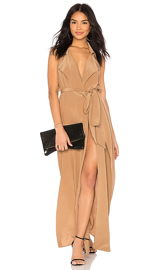 L'AGENCE Maya Wrap Dress in Brown