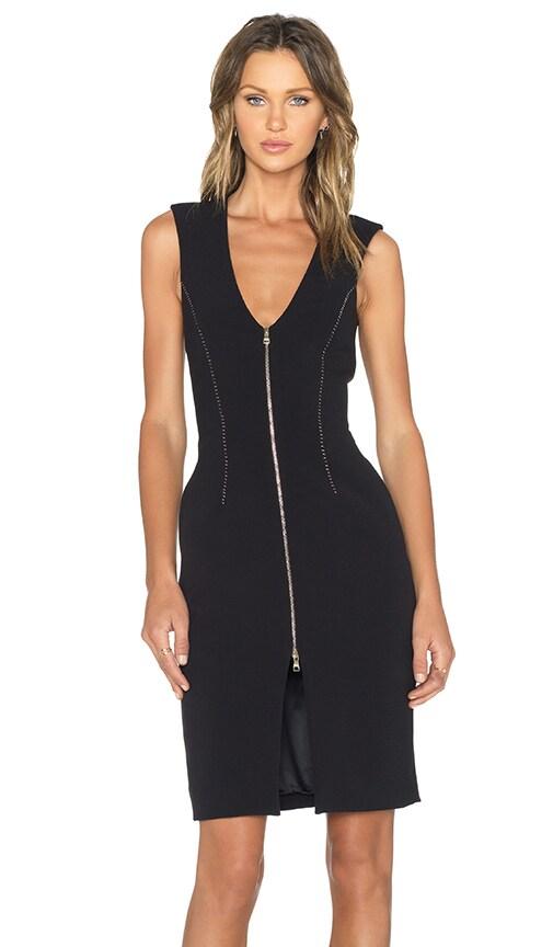 L'AGENCE Eva Zip Front Dress in Black