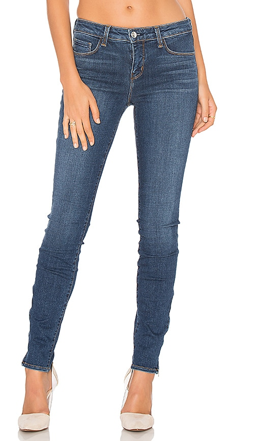 L'AGENCE Chanelle Mid Rise Skinny Zip Jean in Dark Vintage