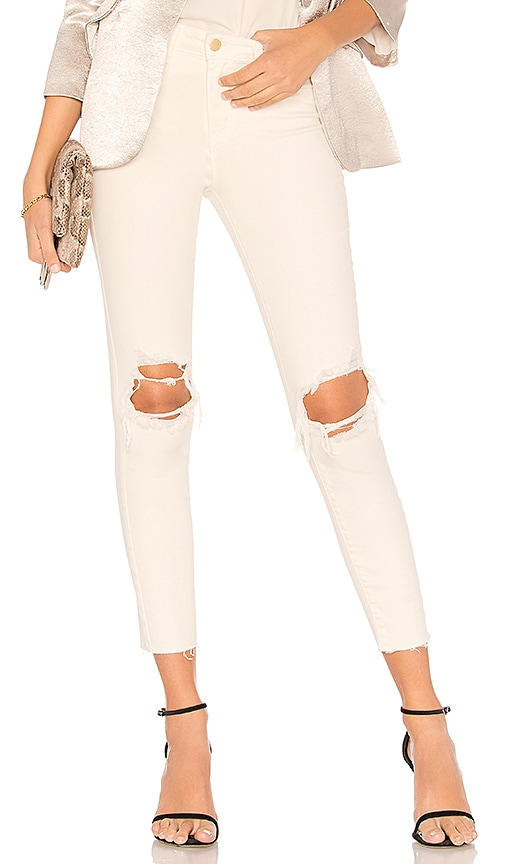 L'AGENCE Margot High Rise Skinny Jean in Vintage White Destructed