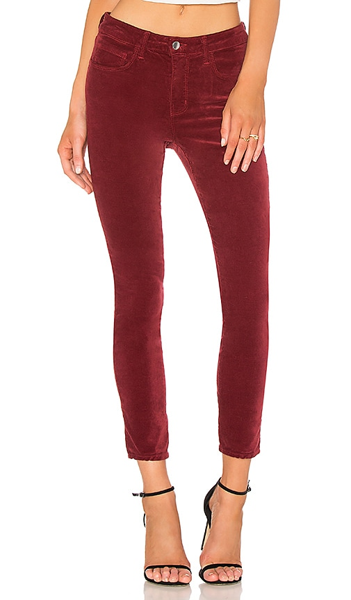 L'AGENCE Margot Skinny Velvet Pant in Red